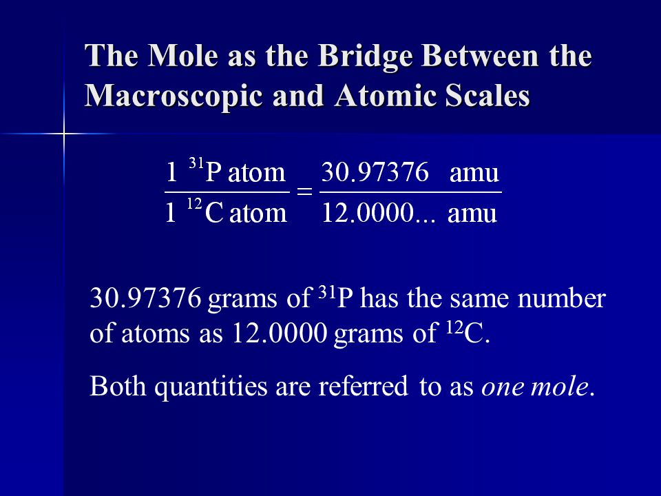 The Mole as the Bridge Between the Macroscopic and Atomic Scales