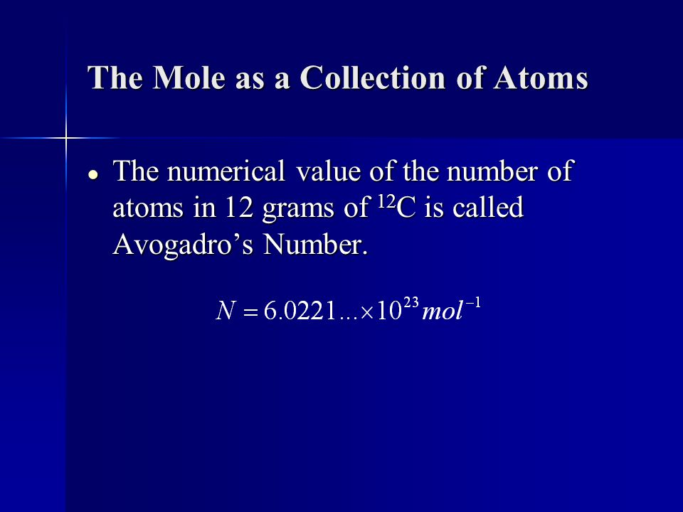 The Mole as a Collection of Atoms