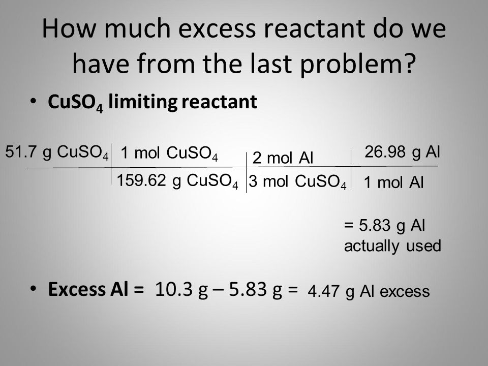 How much excess reactant do we have from the last problem