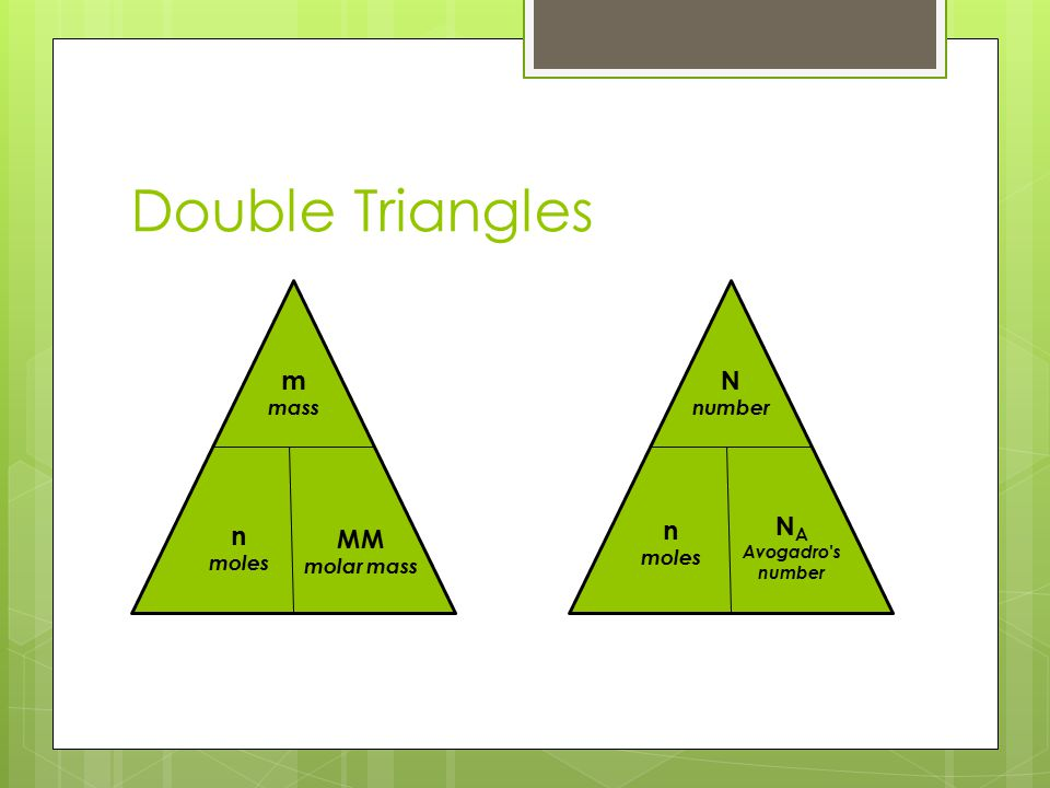 Double Triangles m N NA n n MM mass number moles moles molar mass