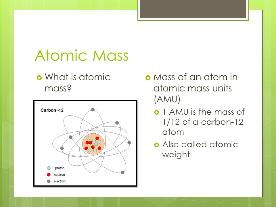 Atomic Mass What is atomic mass