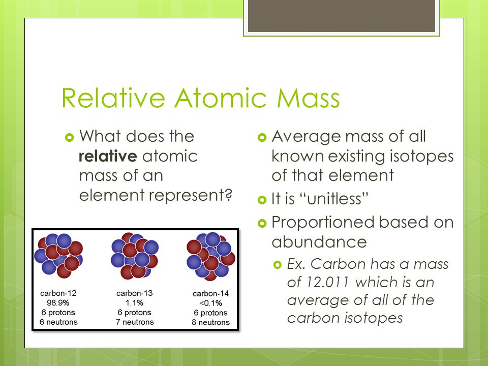 Relative Atomic Mass What does the relative atomic mass of an element represent Average mass of all known existing isotopes of that element.