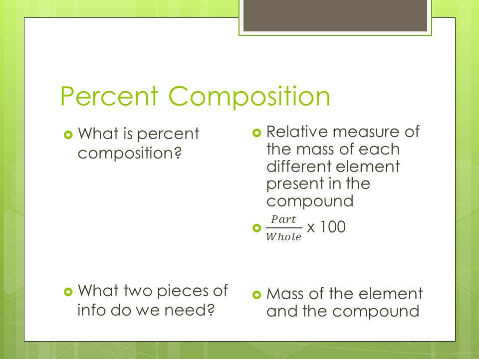 Percent Composition What is percent composition