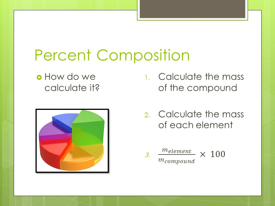 Percent Composition How do we calculate it