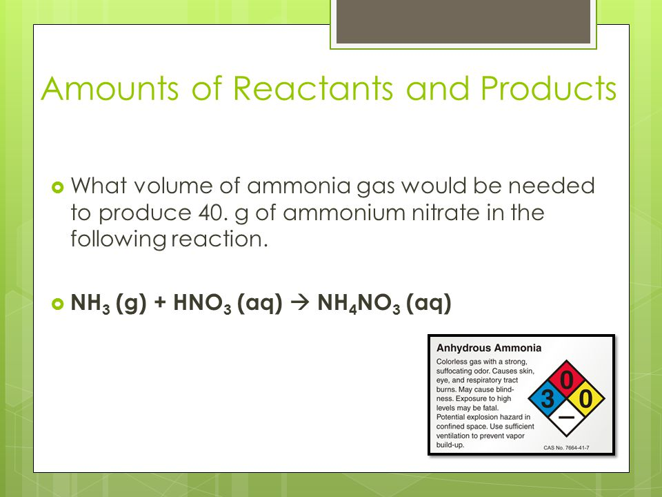 Amounts of Reactants and Products
