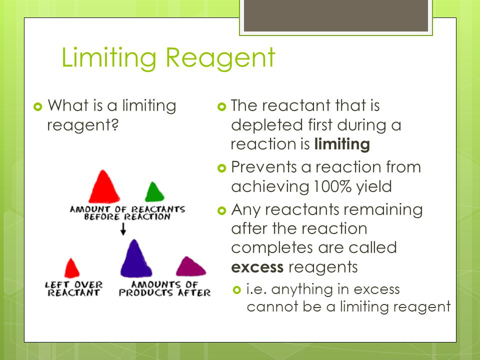 Limiting Reagent What is a limiting reagent