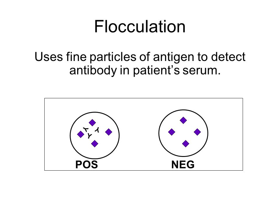 Uses fine particles of antigen to detect antibody in patient's serum.