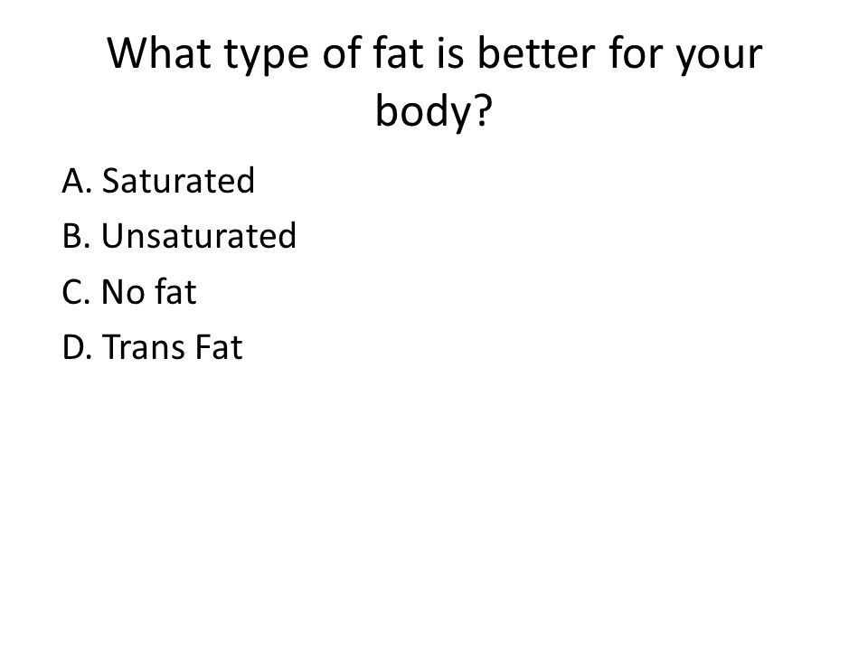 What type of fat is better for your body