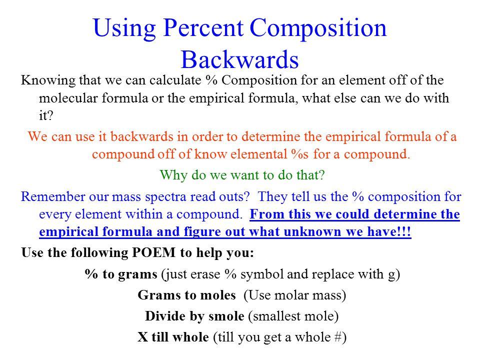 Using Percent Composition Backwards