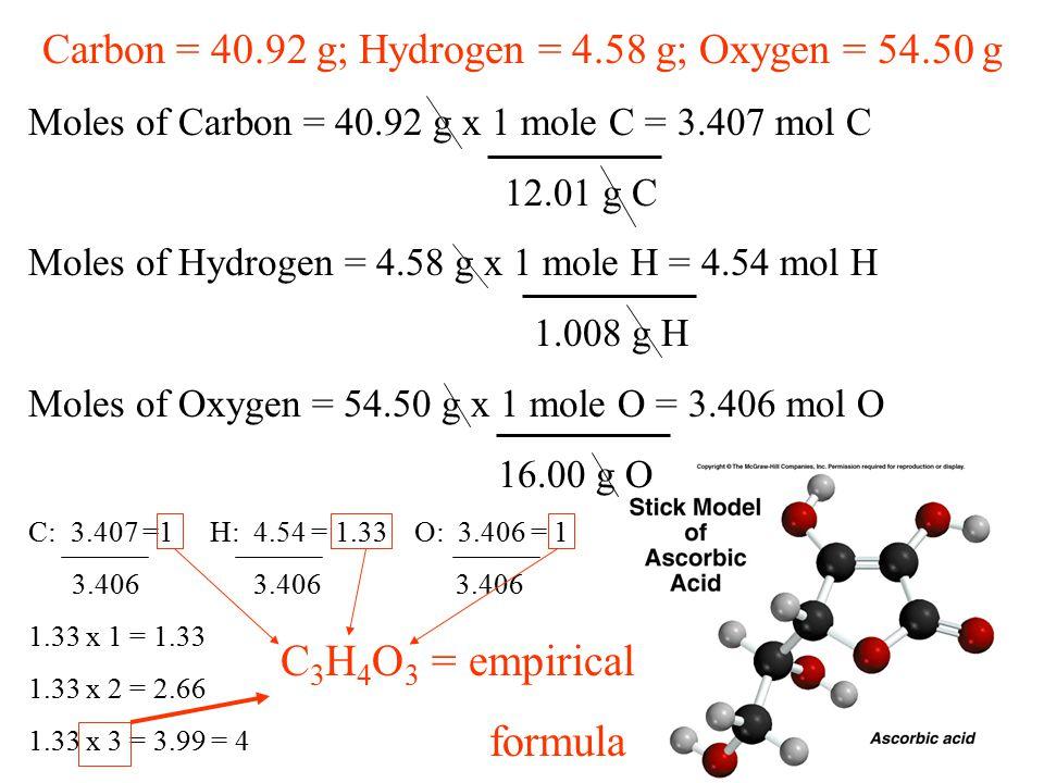 Carbon = 40.92 g; Hydrogen = 4.58 g; Oxygen = 54.50 g