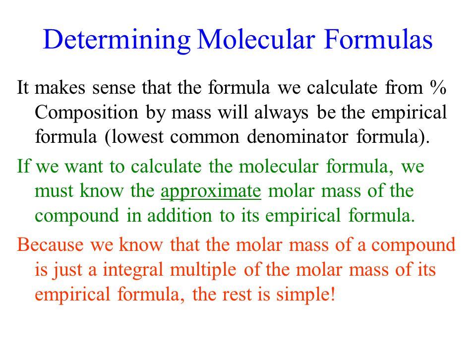 Determining Molecular Formulas