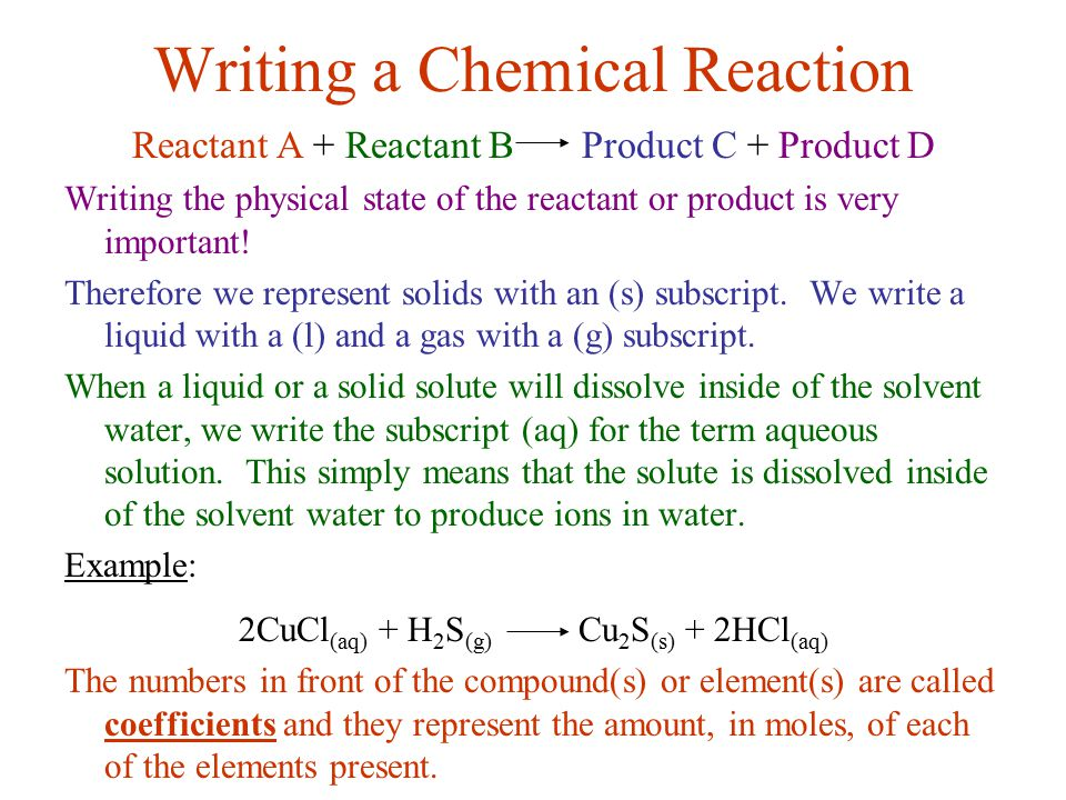 Writing a Chemical Reaction