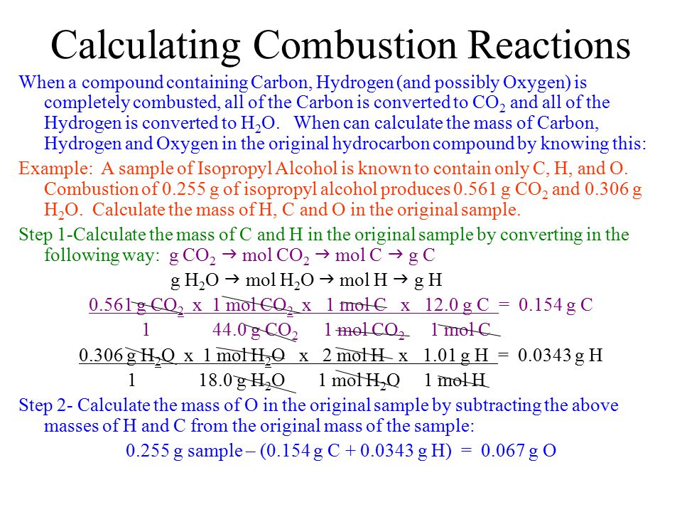 Calculating Combustion Reactions