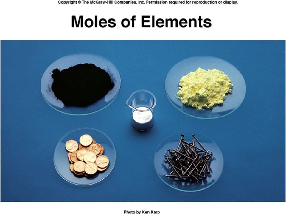 The picture shows one mole of several common elements: copper (pennies), iron (nails), carbon (black charcoal), sulfur and mercury.