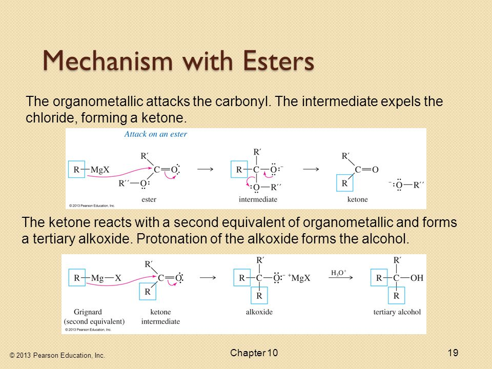 Mechanism with Esters The organometallic attacks the carbonyl. The intermediate expels the chloride, forming a ketone.