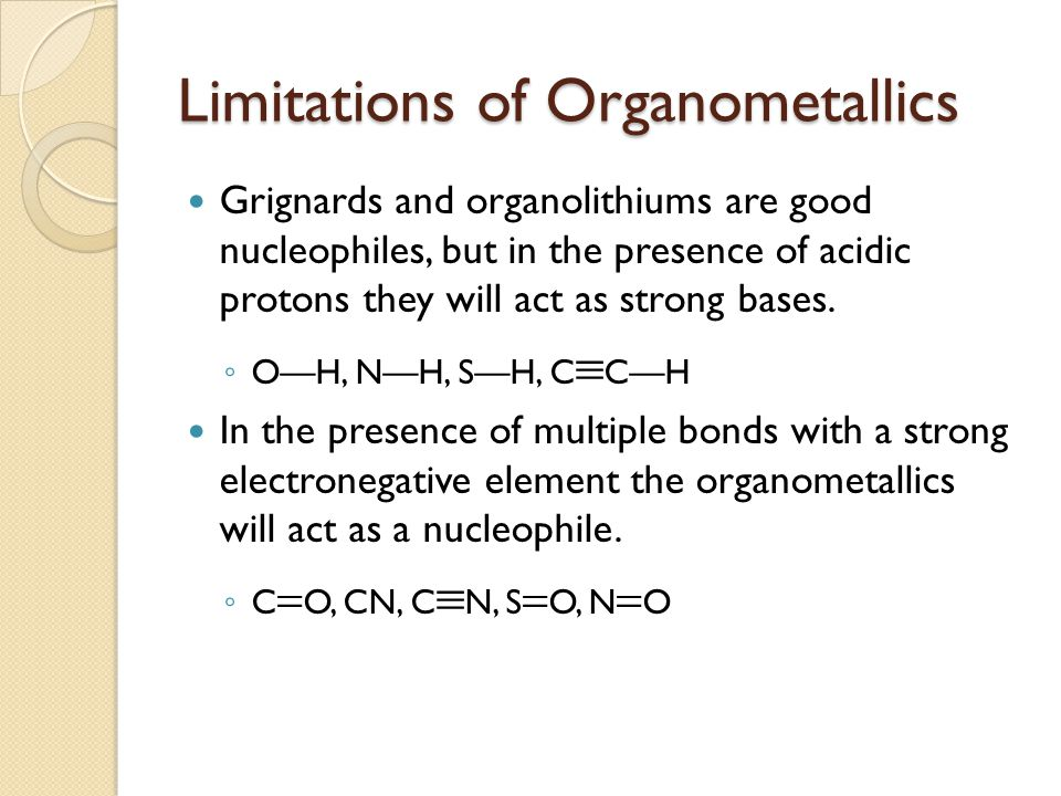 Limitations of Organometallics