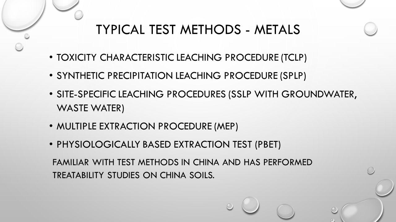 Typical Test Methods - Metals