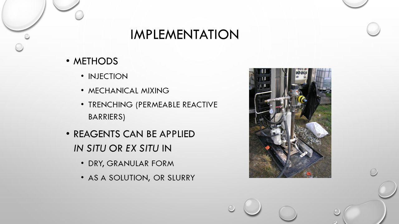 Implementation Methods Reagents can be applied in situ or ex situ in