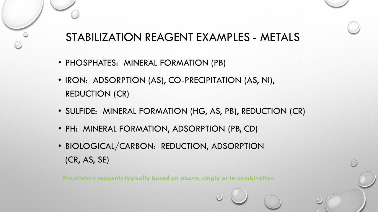 Stabilization Reagent Examples - Metals