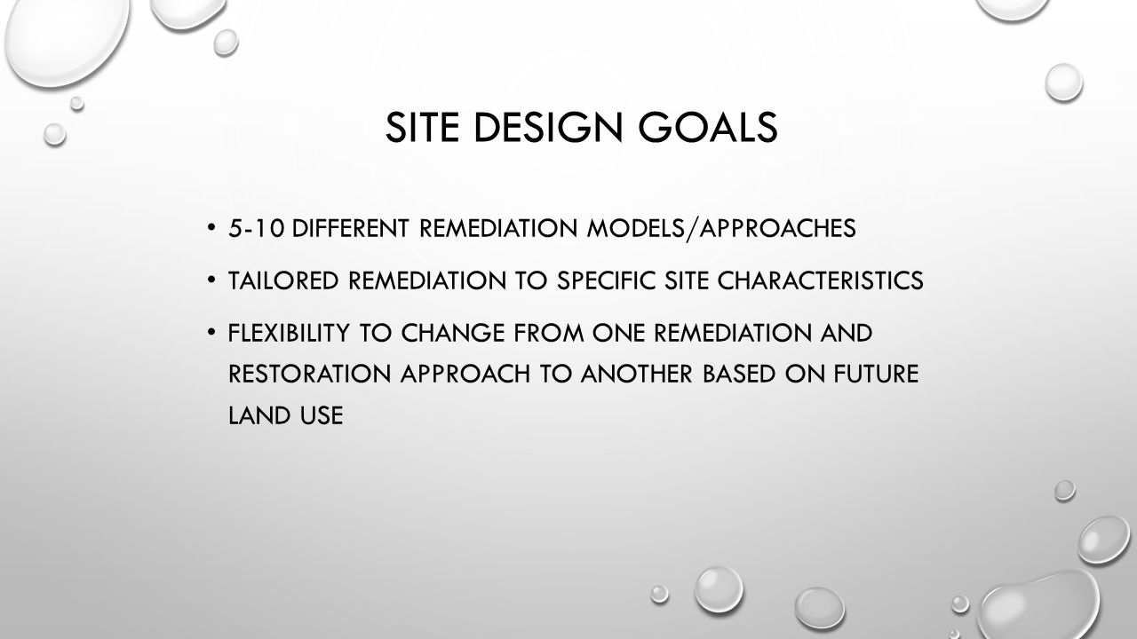 Site Design Goals 5-10 different remediation models/approaches
