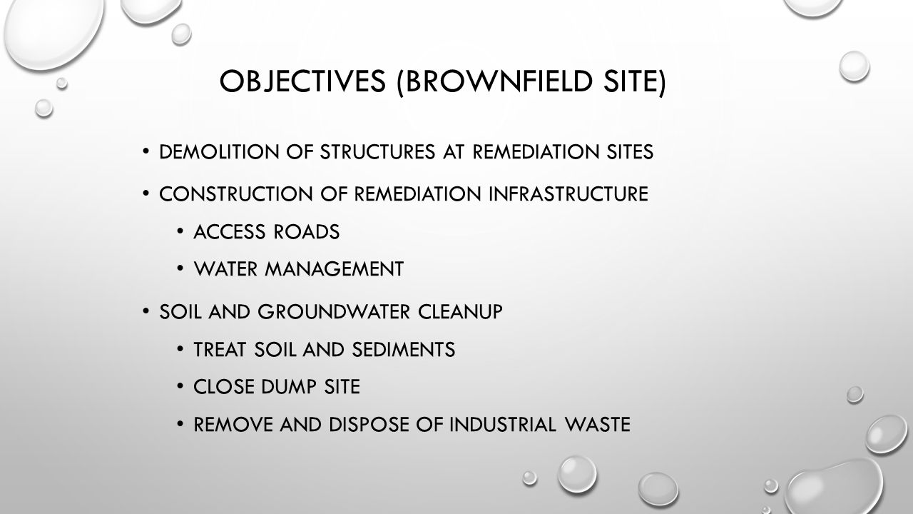 Objectives (Brownfield Site)