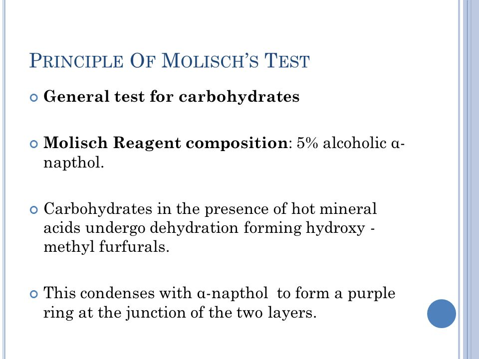 Principle Of Molisch's Test