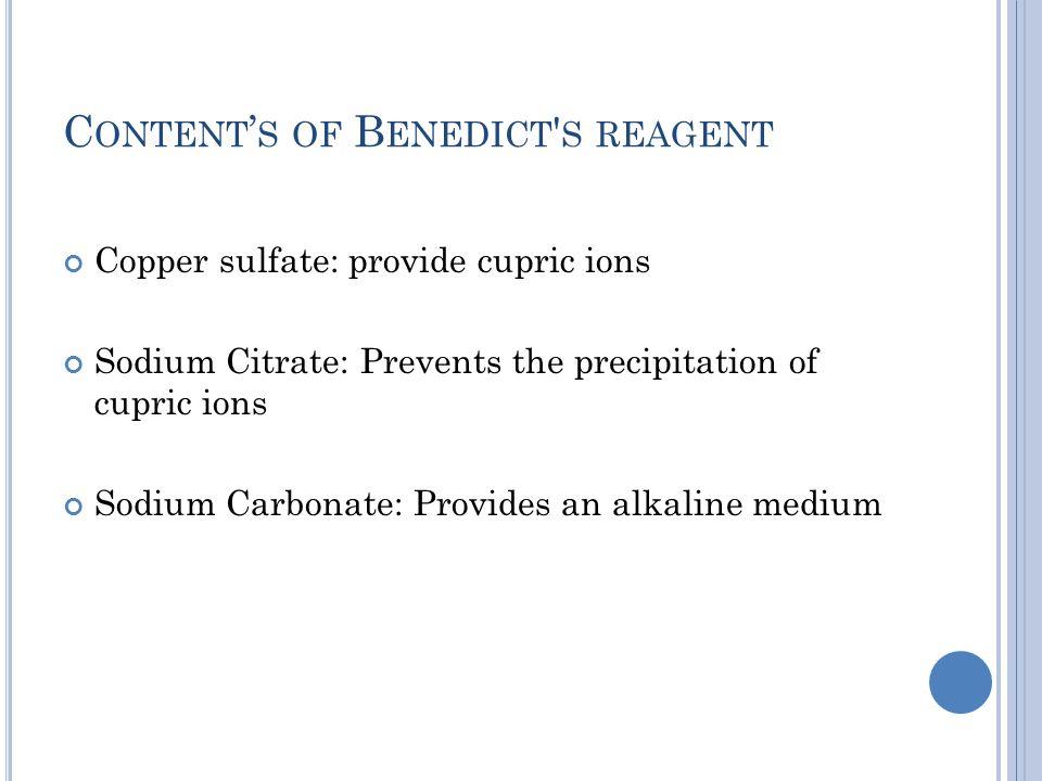 Content's of Benedict s reagent