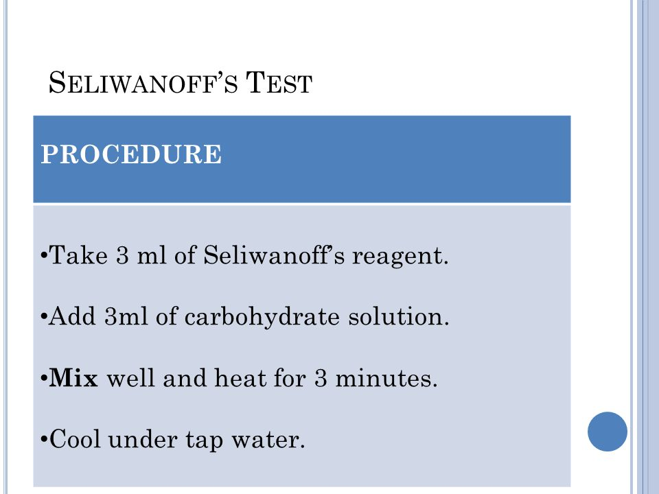 Seliwanoff's Test PROCEDURE Take 3 ml of Seliwanoff's reagent.