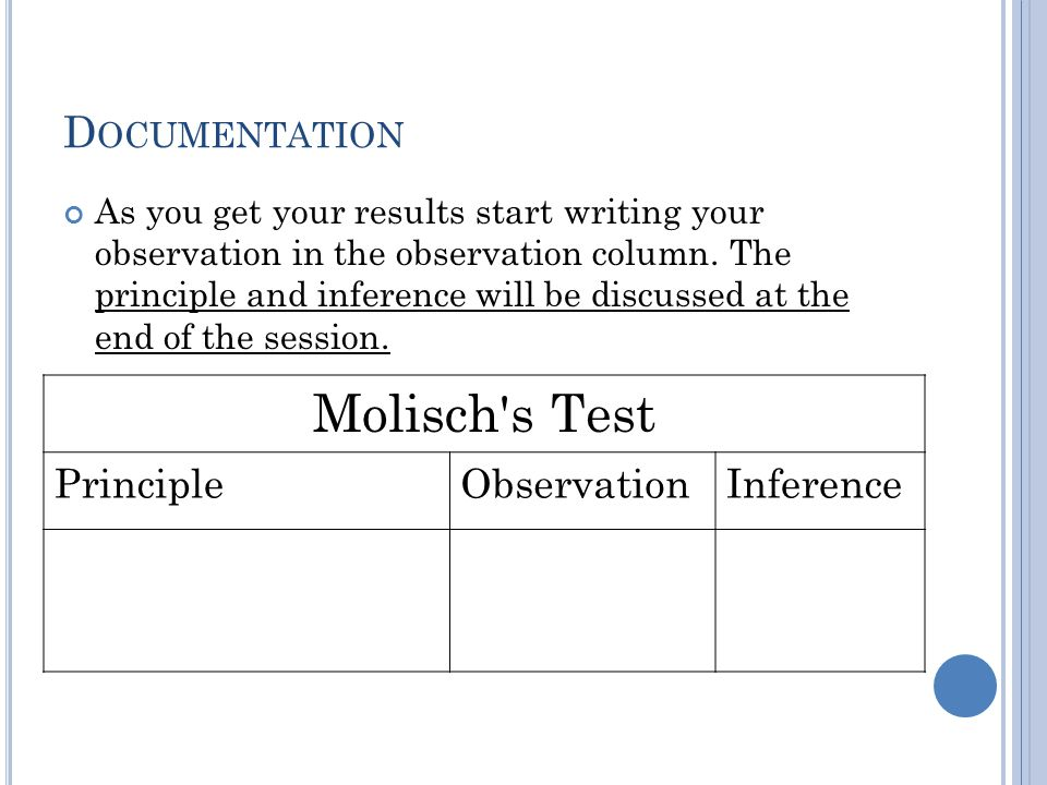 Molisch s Test Documentation Principle Observation Inference