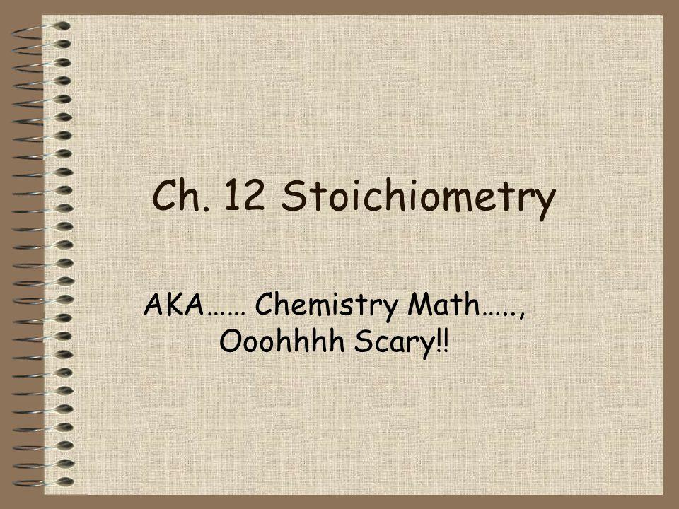 AKA…… Chemistry Math….., Ooohhhh Scary!!