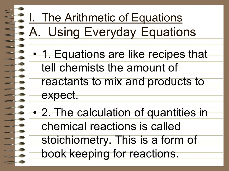 I. The Arithmetic of Equations A. Using Everyday Equations