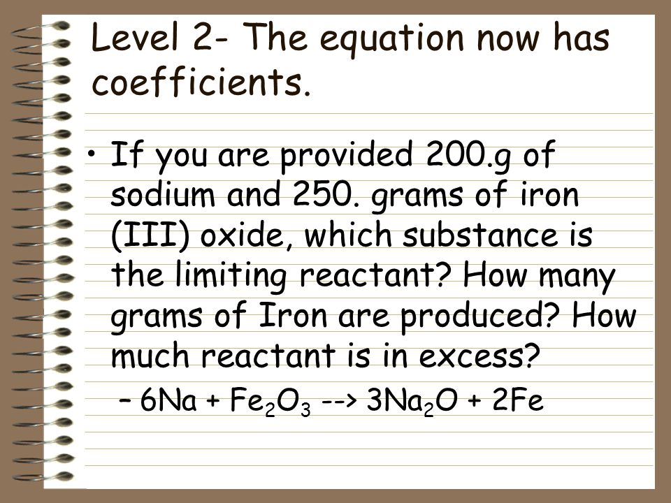 Level 2- The equation now has coefficients.