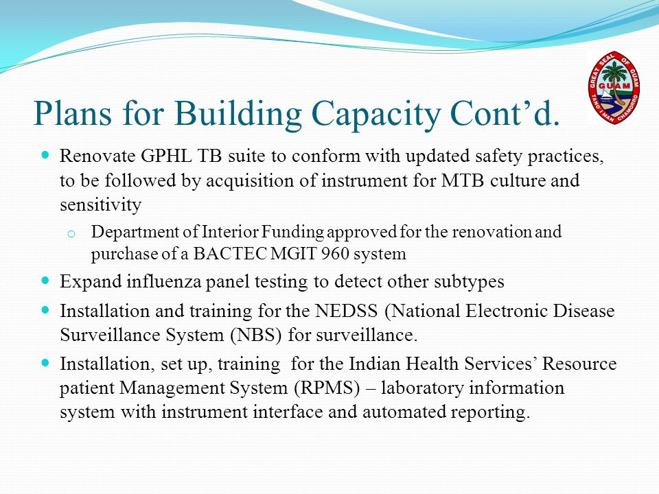 Plans for Building Capacity Cont'd.