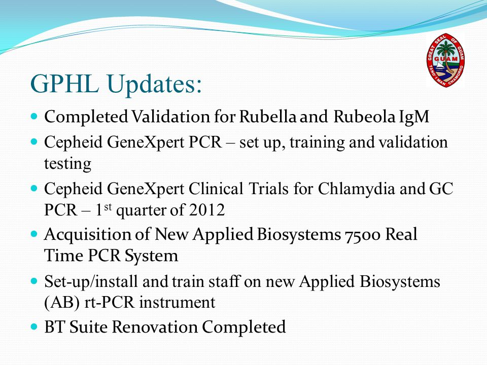 GPHL Updates: Completed Validation for Rubella and Rubeola IgM