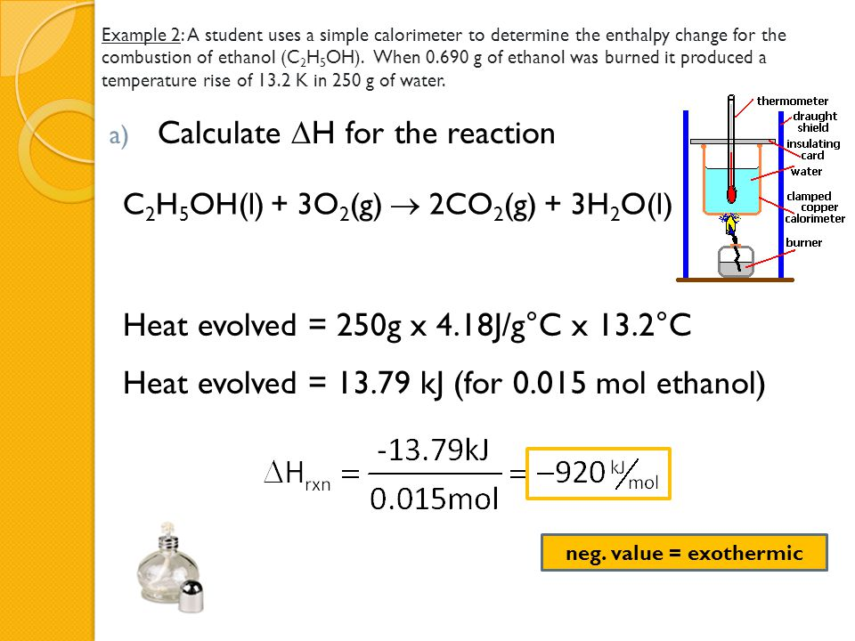 Calculate H for the reaction