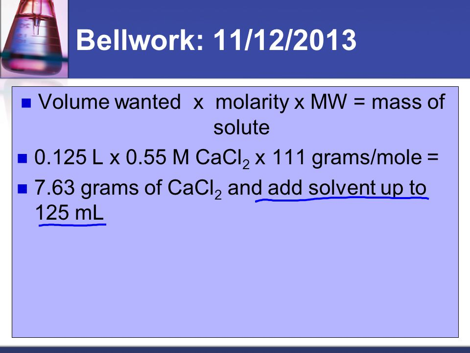 Volume wanted x molarity x MW = mass of solute