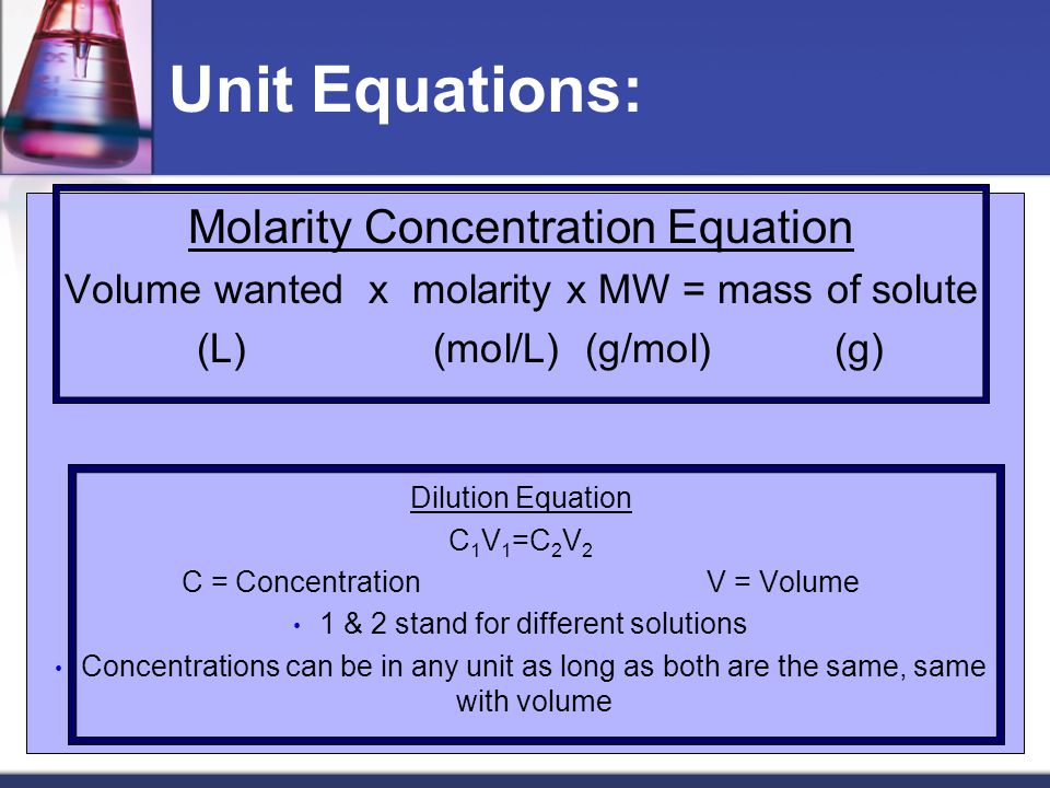 Unit Equations: Molarity Concentration Equation