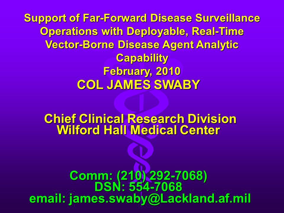 DSN: 554-7068 email: james.swaby@Lackland.af.mil