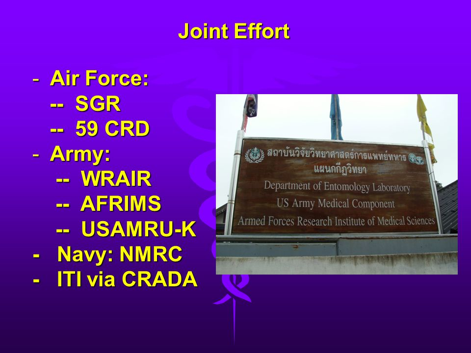Joint Effort Air Force: -- SGR -- 59 CRD Army: -- WRAIR -- AFRIMS