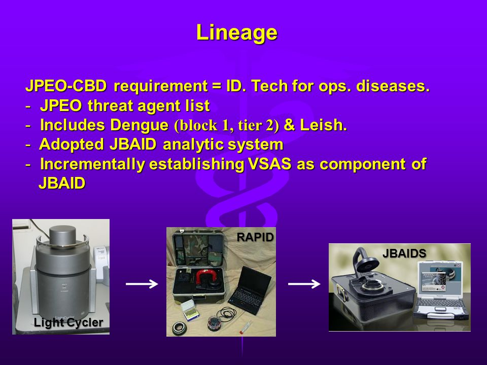 Lineage JPEO-CBD requirement = ID. Tech for ops. diseases.
