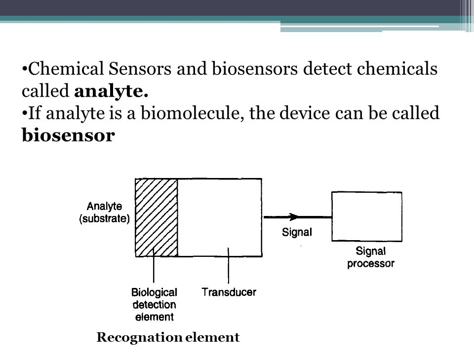 Chemical Sensors and biosensors detect chemicals called analyte.