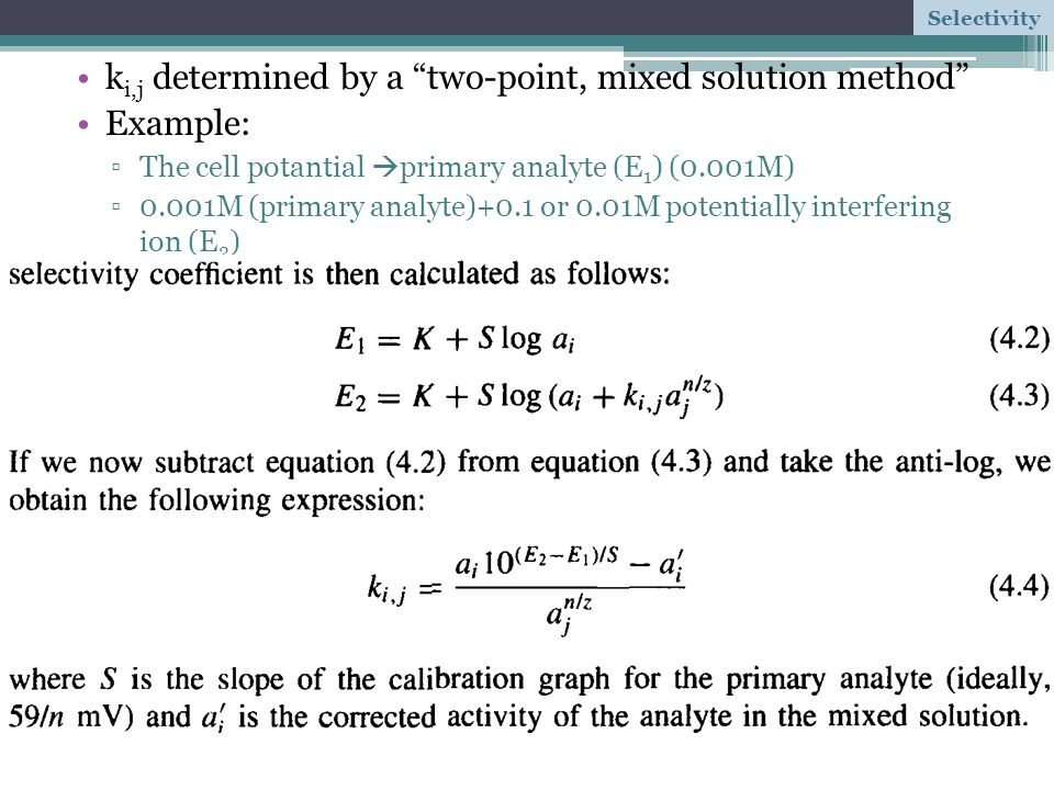 ki,j determined by a two-point, mixed solution method Example:
