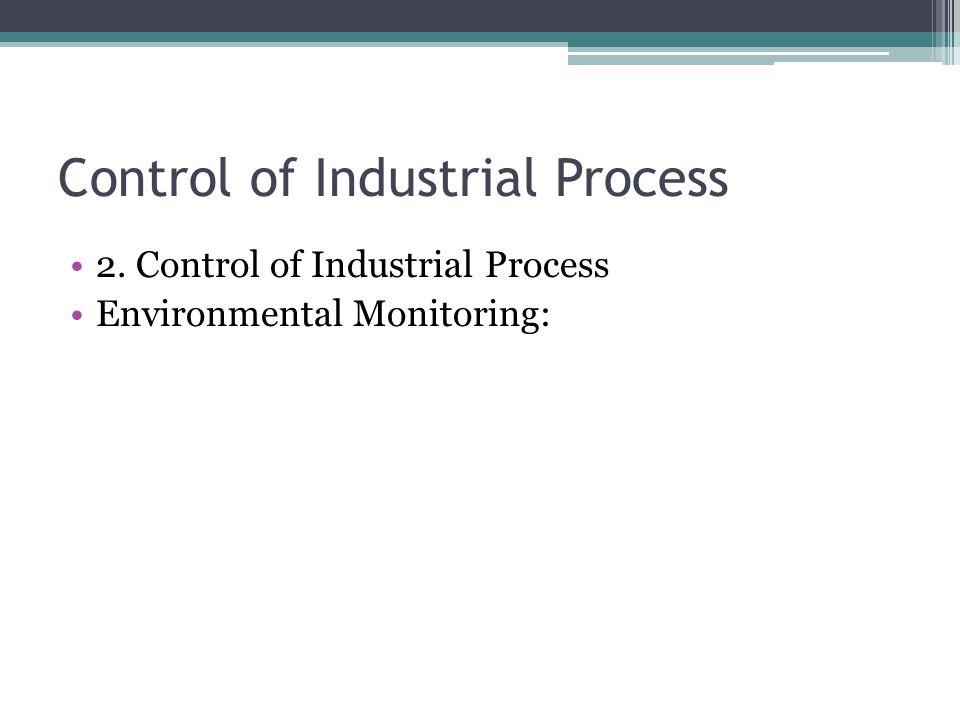 Control of Industrial Process