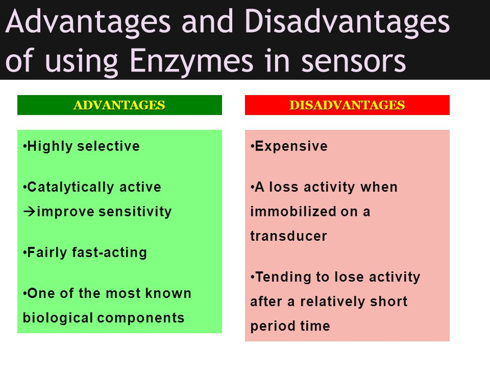 Advantages and Disadvantages of using Enzymes in sensors