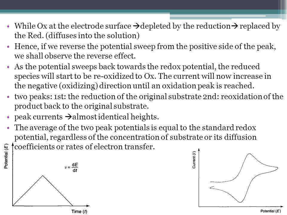 While Ox at the electrode surface depleted by the reduction replaced by the Red. (diffuses into the solution)