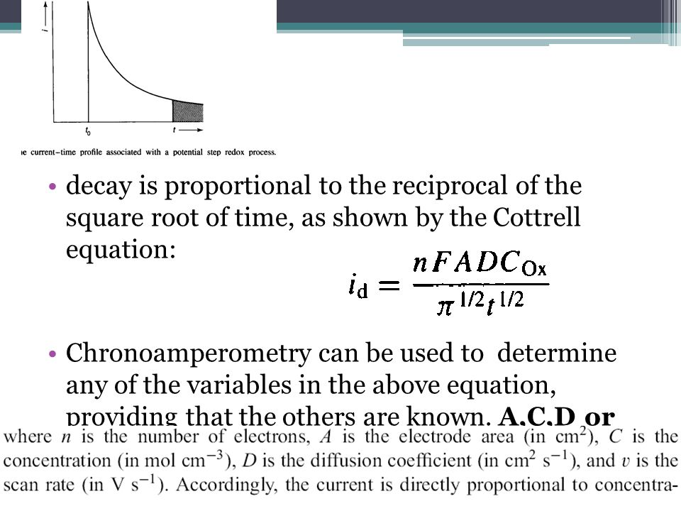 decay is proportional to the reciprocal of the square root of time, as shown by the Cottrell equation: