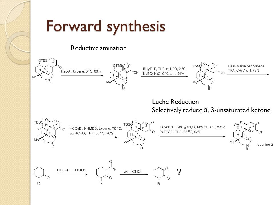 Forward synthesis Reductive amination Luche Reduction