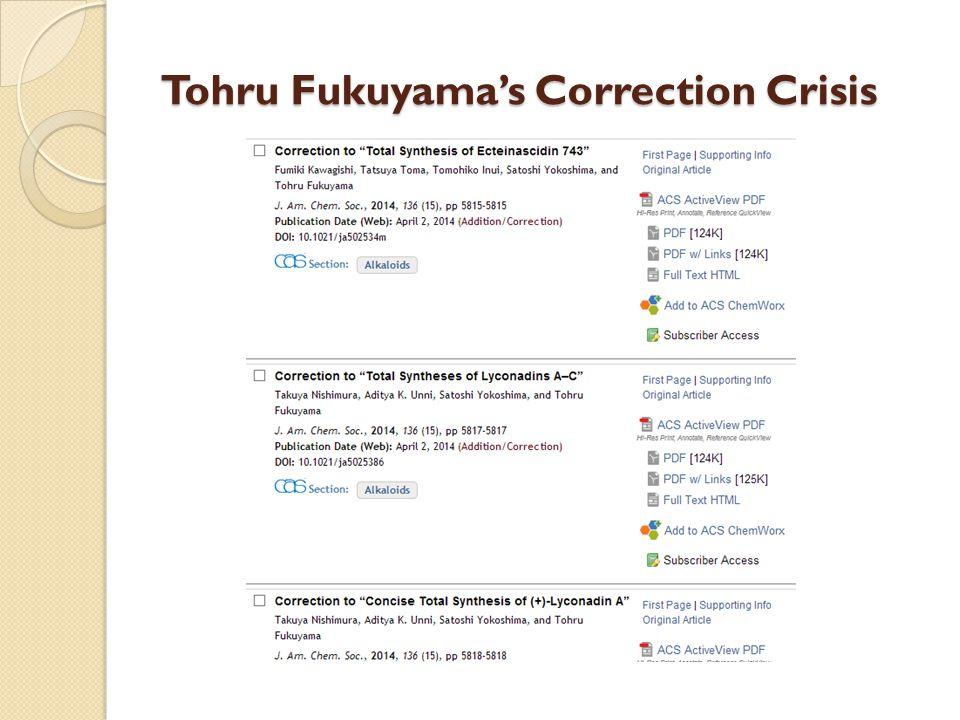 Tohru Fukuyama's Correction Crisis