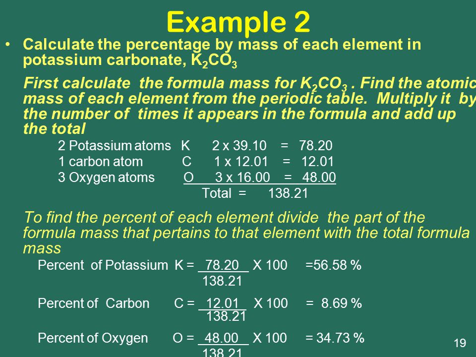 Example 2 Calculate the percentage by mass of each element in potassium carbonate, K2CO3.