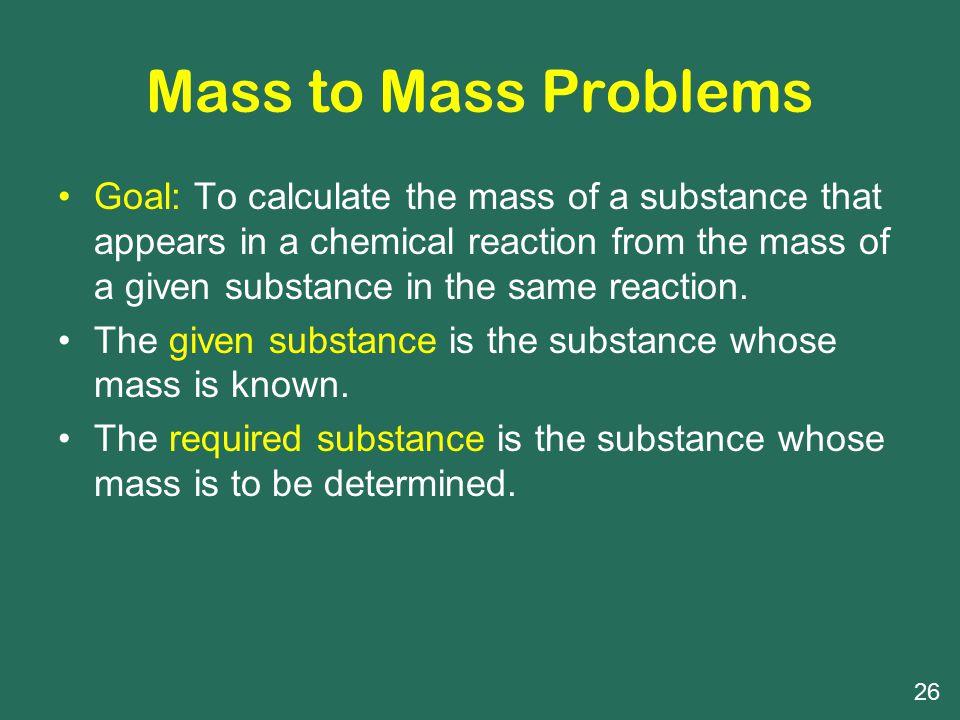 Mass to Mass Problems